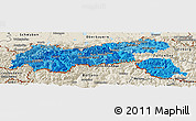 Political Shades Panoramic Map of Tirol, shaded relief outside