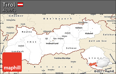 Classic Style Simple Map of Tirol