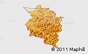 Political Shades 3D Map of Vorarlberg, cropped outside