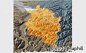 Political Shades 3D Map of Vorarlberg, darken, semi-desaturated