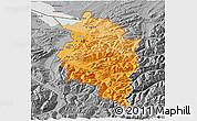 Political Shades 3D Map of Vorarlberg, desaturated