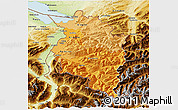 Political Shades 3D Map of Vorarlberg, physical outside