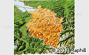 Political Shades 3D Map of Vorarlberg, satellite outside