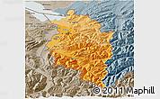 Political Shades 3D Map of Vorarlberg, semi-desaturated
