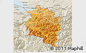 Political Shades 3D Map of Vorarlberg, shaded relief outside