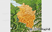 Political Shades Map of Vorarlberg, satellite outside