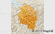Political Shades Map of Vorarlberg, shaded relief outside