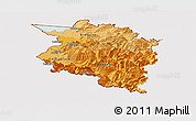 Political Shades Panoramic Map of Vorarlberg, cropped outside