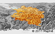 Political Shades Panoramic Map of Vorarlberg, desaturated