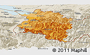 Political Shades Panoramic Map of Vorarlberg, shaded relief outside
