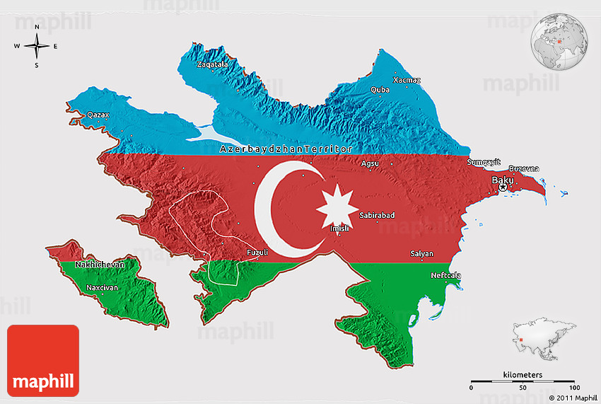 Free version of Flag 3D Map of Azerbaijan, political outside.