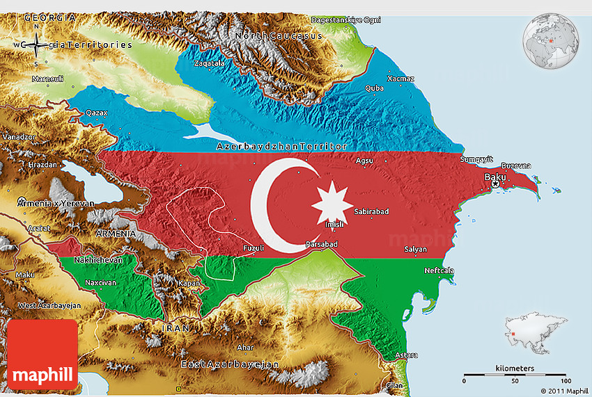 Flag 3d Map Of Azerbaijan Physical Outside