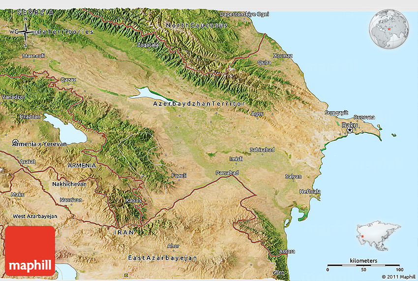 Satellite D Map Of Azerbaijan - Azerbaijan map
