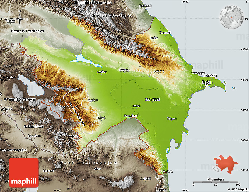 Free version of Physical 3D Map of Azerbaijan.