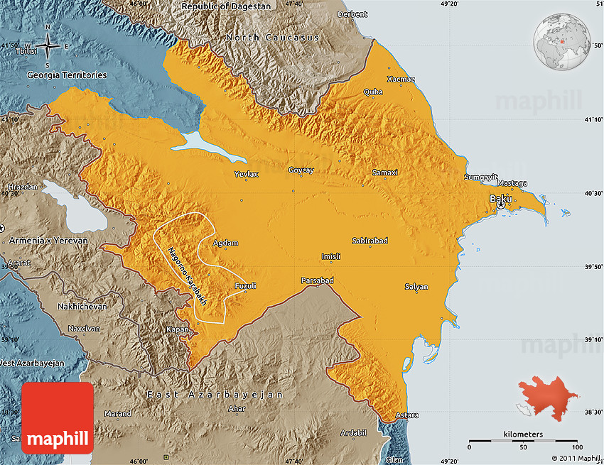 Free version of Political Map of Azerbaijan, political shades outside.