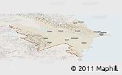 Shaded Relief Panoramic Map of Azerbaydzhan Territor, lighten