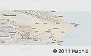 Shaded Relief Panoramic Map of Azerbaydzhan Territor, semi-desaturated