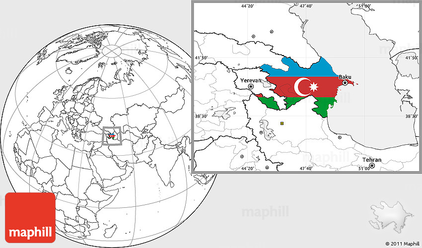 Flag Location Map Of Azerbaijan Blank Outside