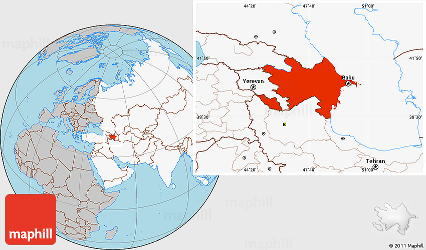 Gray Location Map of Azerbaijan highlighted continent