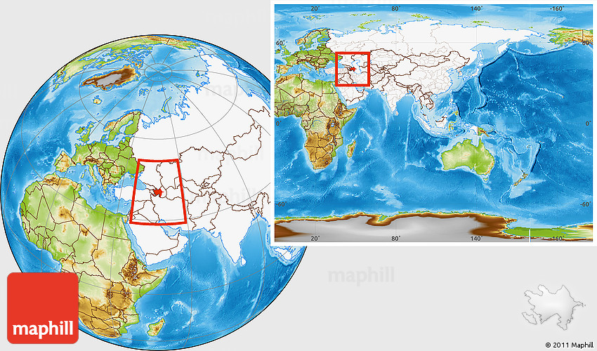 Physical Location Map Of Azerbaijan Highlighted Continent Within - What continent is syria in