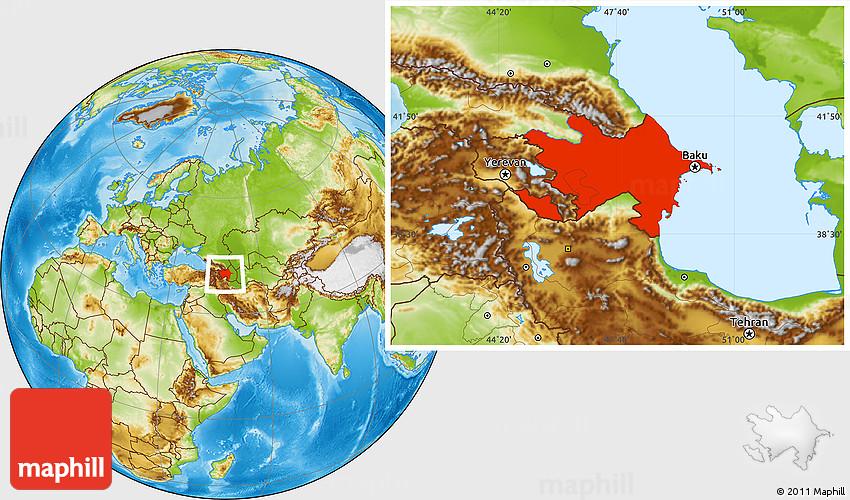 Physical Location Map Of Azerbaijan - Azerbaijan map