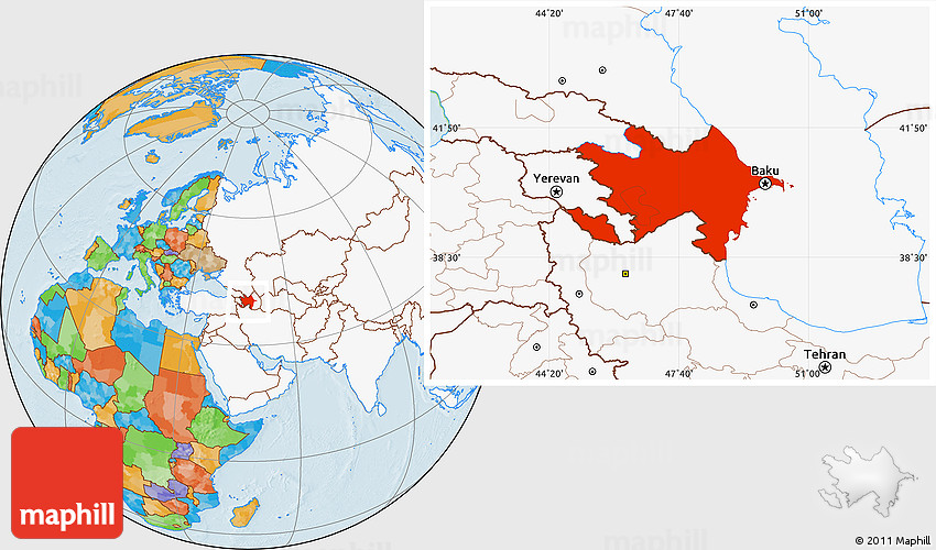 Free version of Political Location Map of Azerbaijan, highlighted continent.