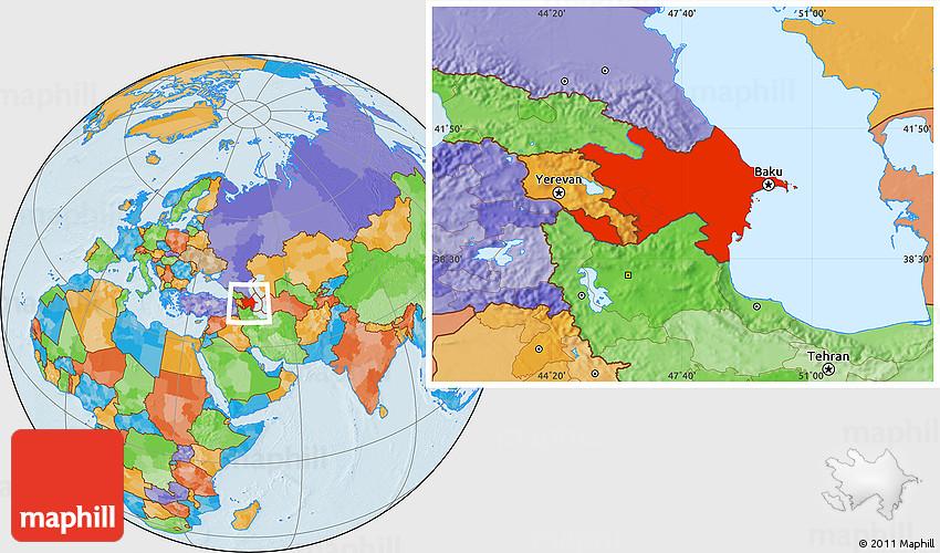 Political Location Map of Azerbaijan