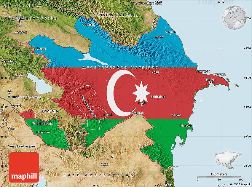 Flag Map Of Azerbaijan Satellite Outside