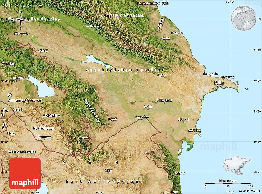 Satellite Map of Azerbaijan