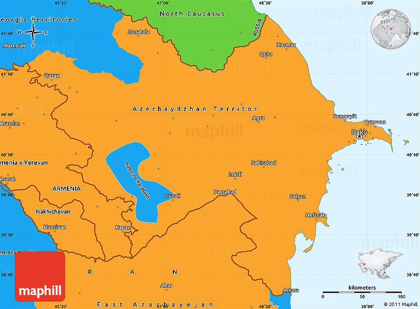 Political Simple Map of Azerbaijan