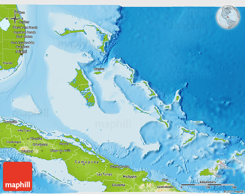Physical 3D Map of the Bahamas