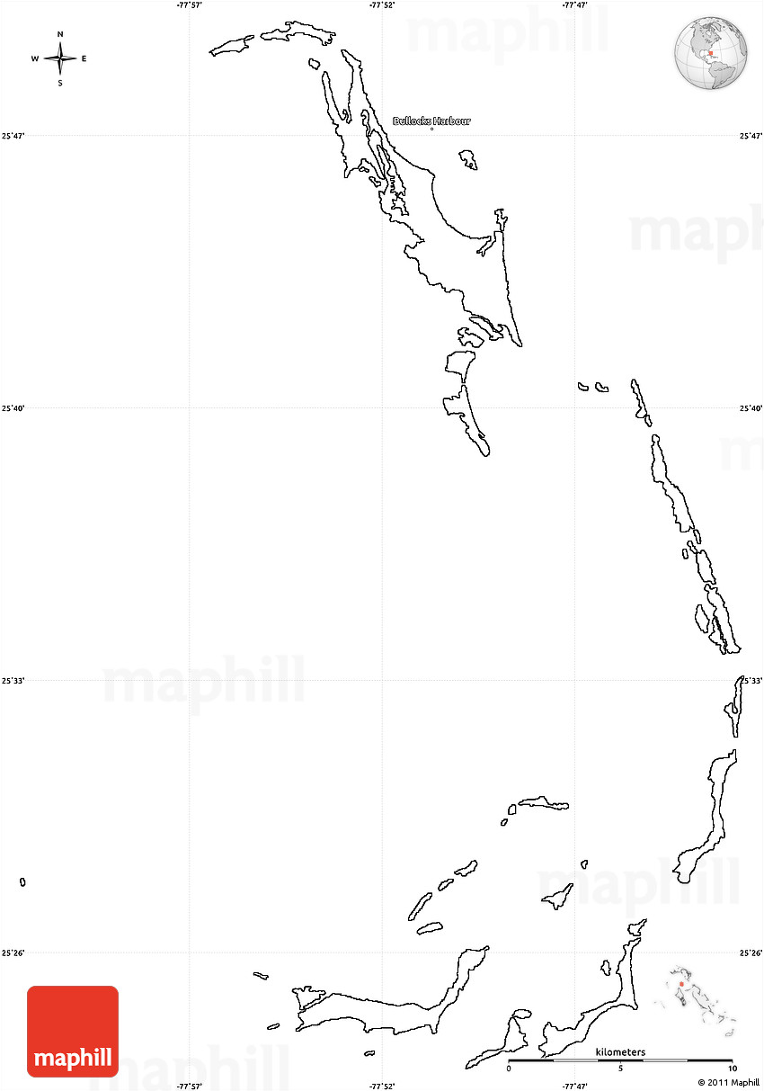 Blank Simple Map of Berry Islands