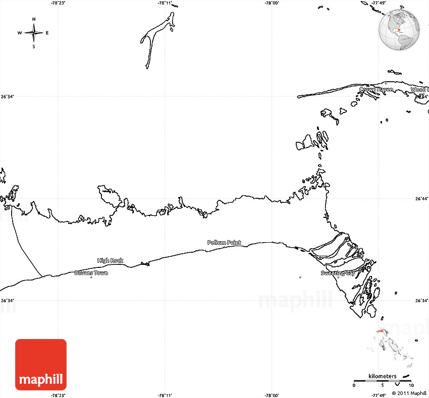 Blank Simple Map of East Grand Bahama