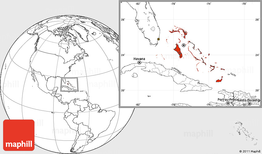 Blank Location Map of the Bahamas
