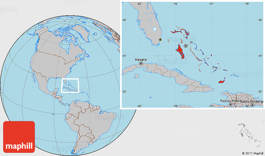 Gray Location Map of the Bahamas