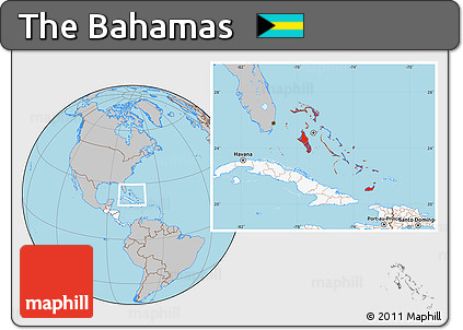 Free Gray Location Map of the Bahamas highlighted continent