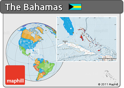 Free Political Location Map of the Bahamas highlighted continent