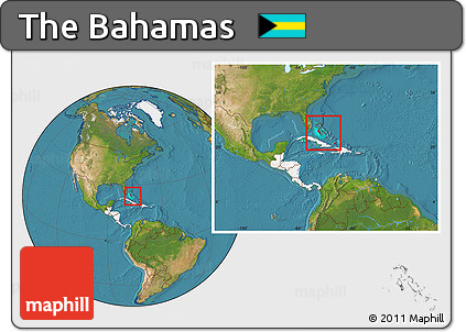 Free Satellite Location Map of the Bahamas highlighted continent