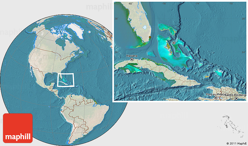 Satellite Location Map of the Bahamas lighten land only