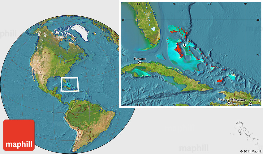 Satellite Location Map of the Bahamas
