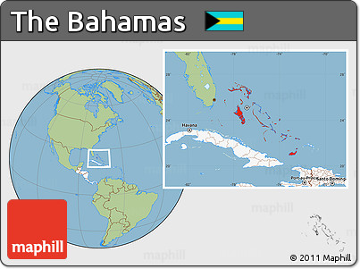 Free Savanna Style Location Map of the Bahamas highlighted continent