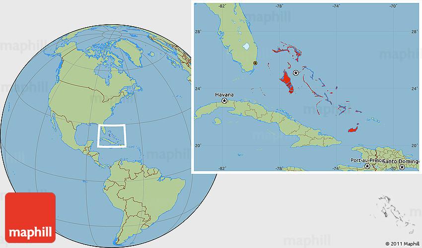 Savanna Style Location Map of the Bahamas
