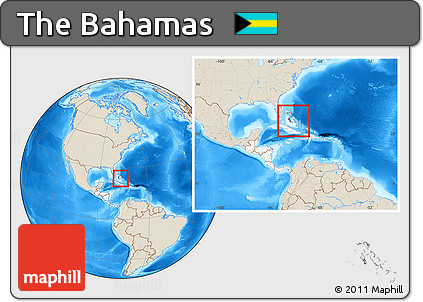 Free Shaded Relief Location Map Of The Bahamas Highlighted - Bahamas location map