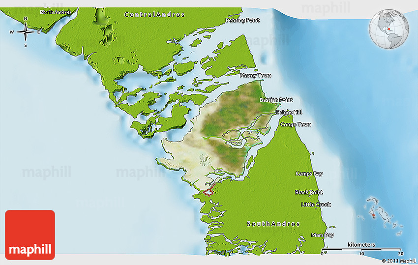 Satellite 3d Map Of Mangrove Cay Physical Outside: Map Of Mangrove Cay Andros Bahamas At Usa Maps