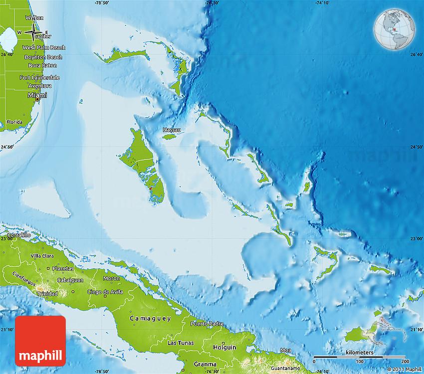 Bahamas Elevation Map.Physical Map Of The Bahamas