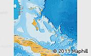 Political Shades Map of The Bahamas