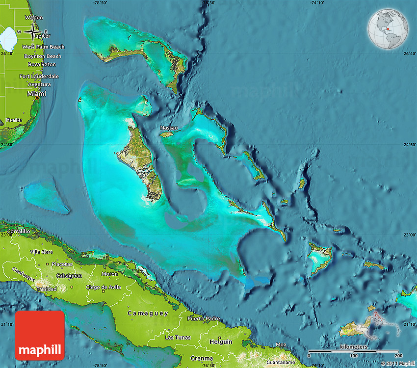Satellite Map Of The Bahamas Physical Outside Satellite Sea - Map of the bahamas