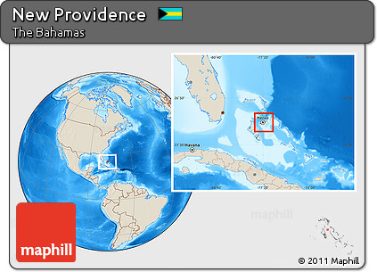 Shaded Relief Location Map of New Providence