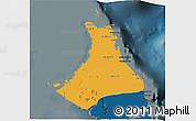 Political 3D Map of North Andros, darken