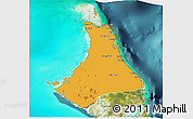 Political 3D Map of North Andros, satellite outside